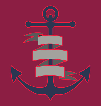 anchored: Anchor with ribbon EPS 10
