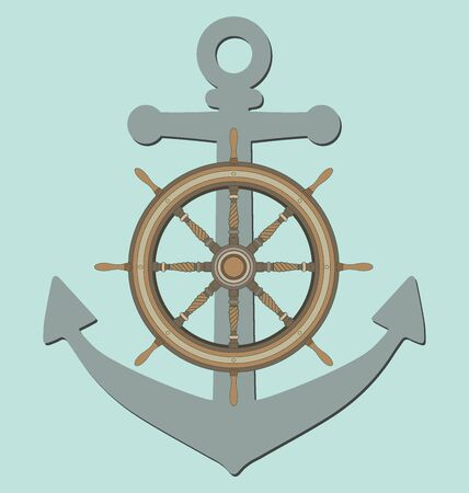 ship anchor: Anchor and ship steering wheel on blue