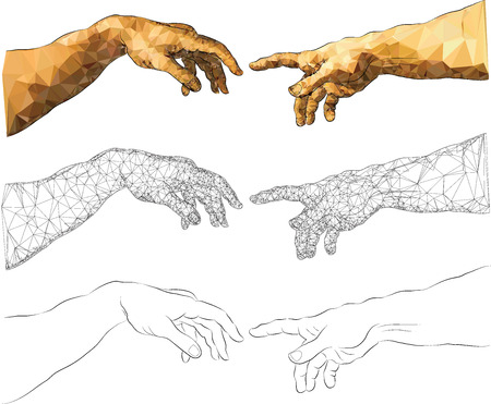Michelangelos near-touching hands of God and Adam Illustration