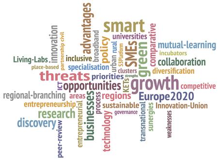 gobierno corporativo: Estrategia de negocio. Fondo de vector creativo. Imagen abstracta hecha de palabras que se relacionan con el negocio Vectores