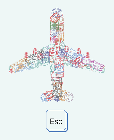 esc: Travel theme illustration with plane icon made of vintage postmarks