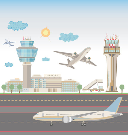 Airport landscape Stock Vector - 46455866