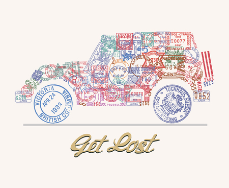 lost world: Travel theme illustration with 4x4 vehicle icon made of vintage postmarks