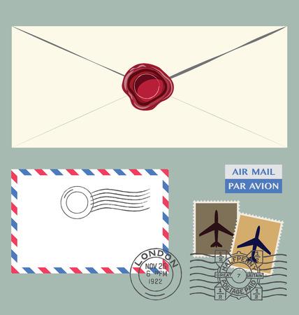 postmarks: Set of postal stamps, envelope and postmarks