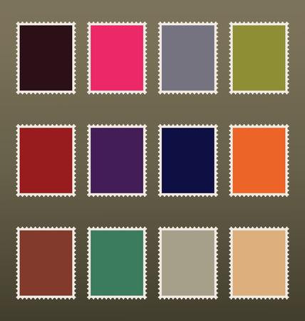 Twelve blank colorful postage stamps