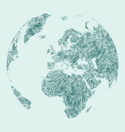 earth map: World Map Earth Globe Vector line Sketched Up Illustrator, Illustration