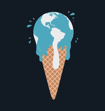 ozone: Ice cream earth melts - global warming concept. Vector Illustration