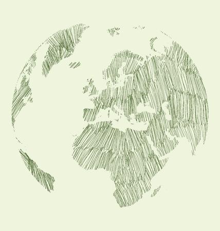 sketched: World Map Earth Globe Vector line Sketched Up Illustrator,