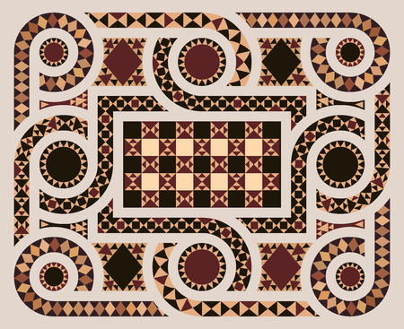 Floor mosaic background with circles pattern abstract geometric design on byzantine era church interior. The main motifs in the center of the temple.