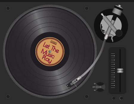 lp: Dj Turntable With LP. Vector Illustration eps10