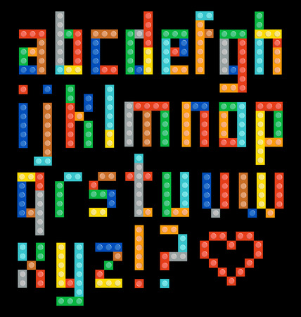 constructor: Alphabet from the multicolor plastic constructor.