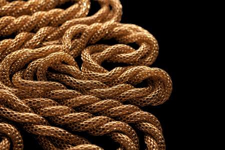 personal ornaments: Golden chain necklace on blackground