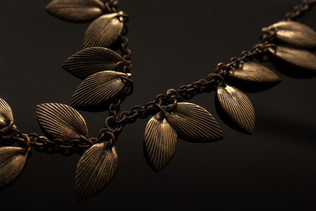 personal ornaments: Golden chain necklace with leaves on blackground