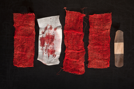 gauze: Gauze with blood on black background