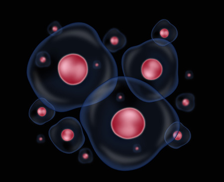 Group of cells over a black background Stock Photo