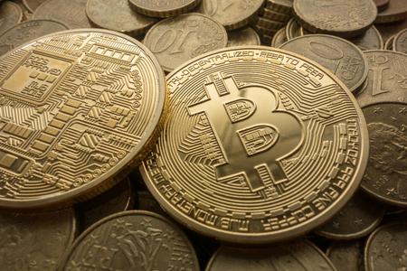 Photo Golden Bitcoins, new virtual money