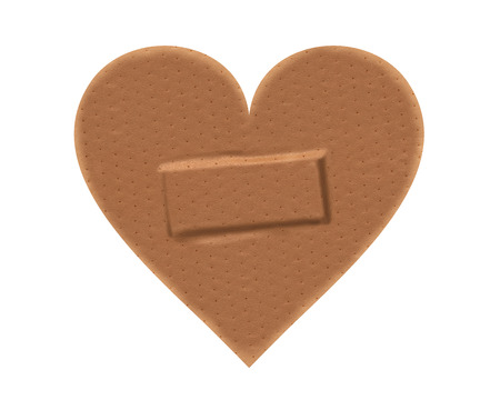 paths: Heart shaped sticking plaster with clipping paths. Stock Photo