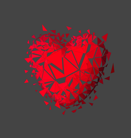 unrequited: Heart explosion on gray background Illustration