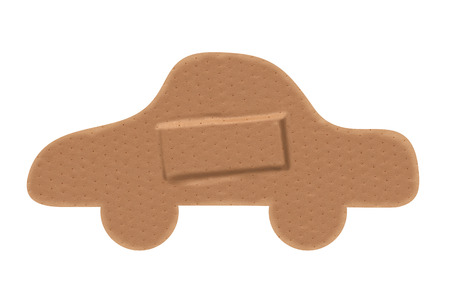 paths: Car shaped sticking plaster with clipping paths. Stock Photo