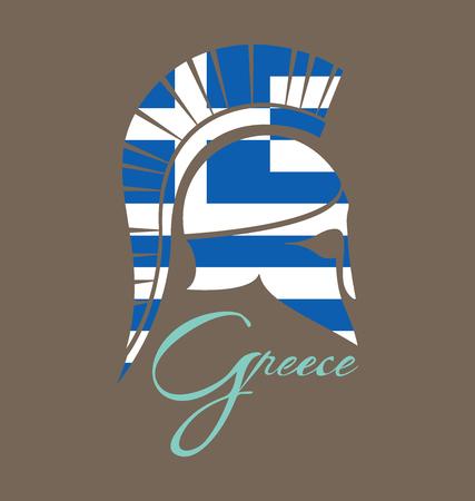 Ancient Greek battle helmet with flag of Greece Illustration
