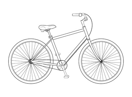 Line drawing bicycle on white background