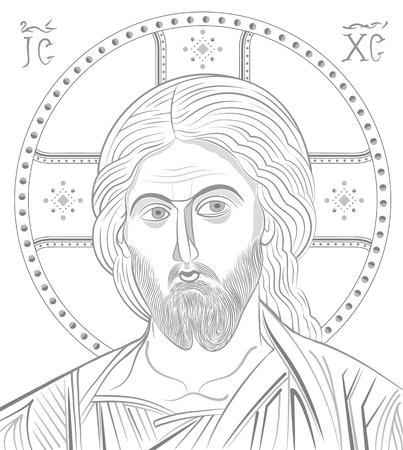Jesus Christ byzantine style portrait.