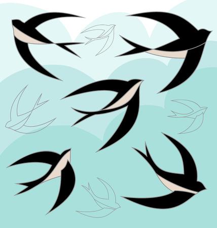 Swallow bird color set