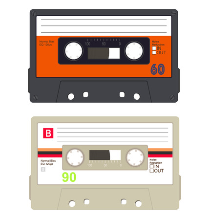 Retro audio tape cassette set isolated on a white background. Фото со стока - 82999433