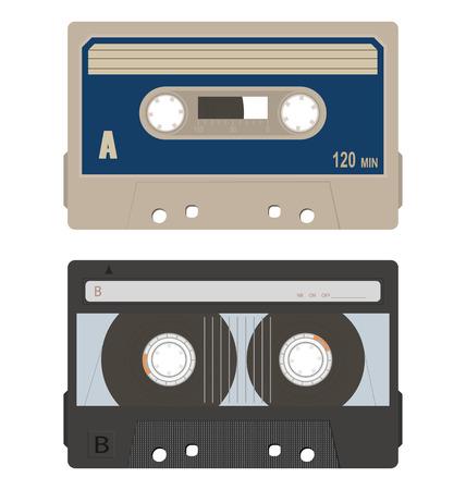 Retro audio tape cassette set isolated on a white background. Иллюстрация