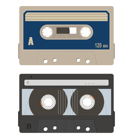 Retro audio tape cassette set isolated on a white background. Illustration