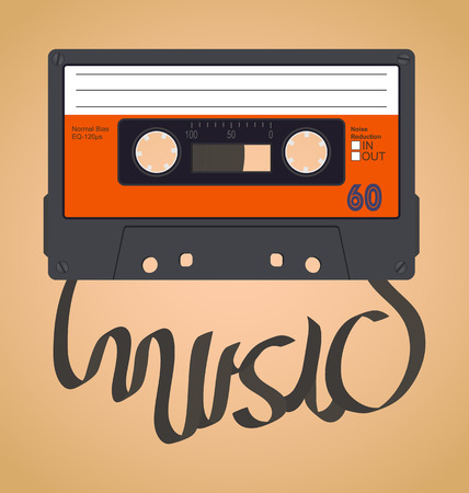 Audio cassette tape which with the film forms the word music