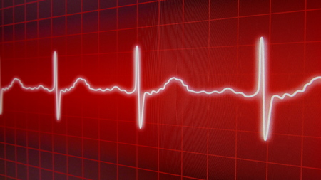 Red EKG Energy Heart Line Monitor Stock Photo