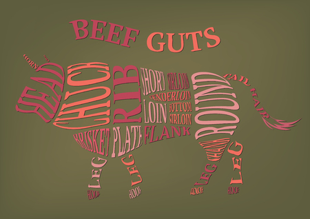 Set of butcher diagrams. Cut of bull Illustration