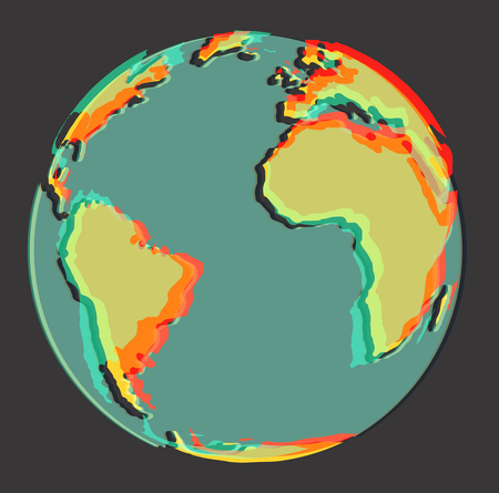 Earth globe world icon 3d