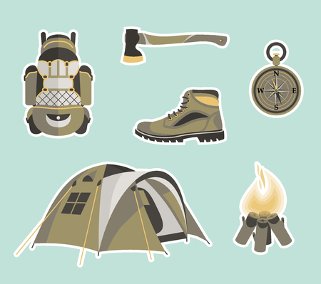 Camping items set. Traveler backpack with survivor items and and other stuff for camping