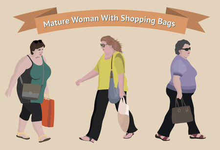 Older woman with shopping bags. Vector character of a people. Cartoon of woman doing shopping. Vector flat cartoon illustration Illustration