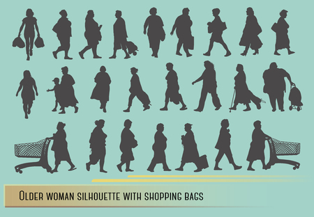 Older woman silhouette with shopping bags.