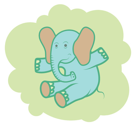 Happy blue elephant on his cloud