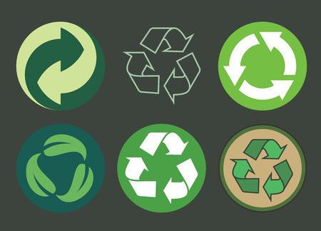 Recycling symbol of ecologically pure funds, set of arrows, green collection image