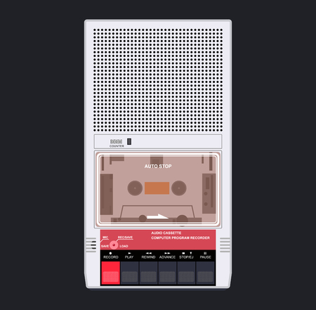 Old cassette audio player. The flat design style Illustration