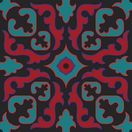 Vintage tiles with intricate details. Seamless retro vector tile. Ceramic paint floor tile, ornament tile collection