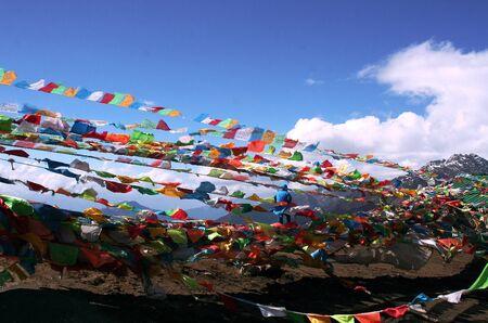 tibetian: white pagoda, flag for pray, The faith of Buddhist Tibetian