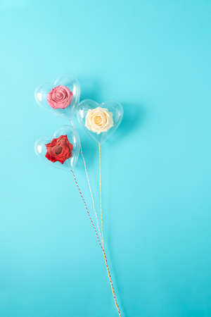 Roses in heart shaped transparent glass balloons. Red, pink and yellow flowers on a pastel blue background. Creative flat lay valentine's day concept.