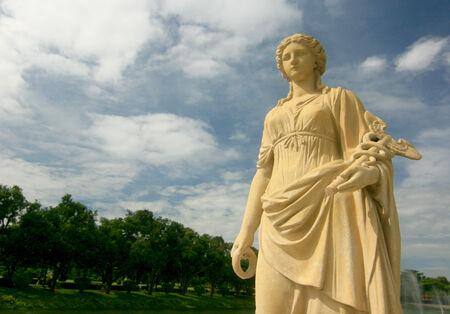 Greek Roman with blue sky Stock Photo