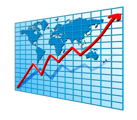 red line chart going up on world map blue background