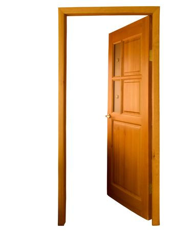fusing: opened brown natural wooden door with fusing glass on white