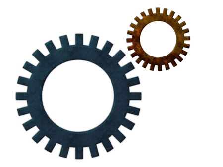 sprocket: two steel pinions: one small, ginger grunge style, rust and corrosion, second  blue modern and rusted, both isolated