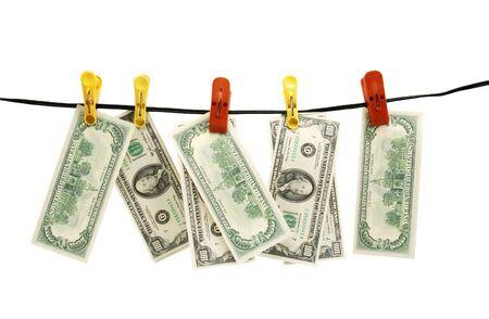 Dollar wird getrocknet auf Leinen Seil Standard-Bild - 9360440