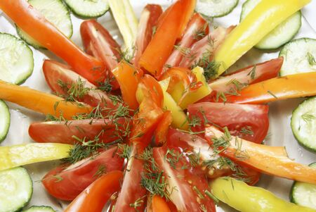 accurately: The cut vegetables are spread beautifully out on a plate