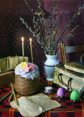easter candle is burning: The traditional christian easter still life